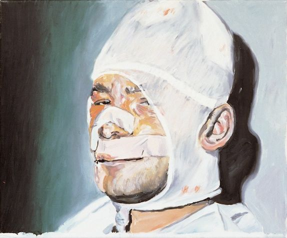 Martin Kippenberger, Dialogue with the Youth of Today (detail), 1981, oil on canvas, 50 x 60 cm. © Estate Martin Kippenberger, Galerie Gisel...