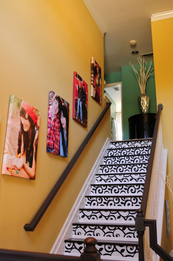 Wallpaper Staircase With Gallery Wrap Wall Art