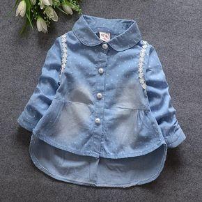 2016 primavera ropa de los nuevos niños niñas linda del cordón de la largo-manga da vuelta-abajo camisa de mezclilla ropa de los cabritos
