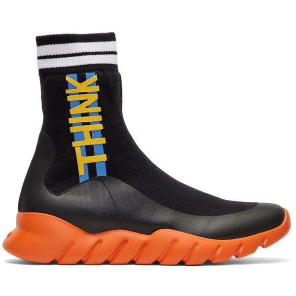 Fendi Black and Orange Sock Think Fendi High-Top Sneakers ($755) ❤ liked on Polyvore featuring men's fashion, men's shoes, men's sneakers, mens high top sneakers, mens black high top shoes, mens leopard print shoes, mens multi colored shoes and colorful mens shoes