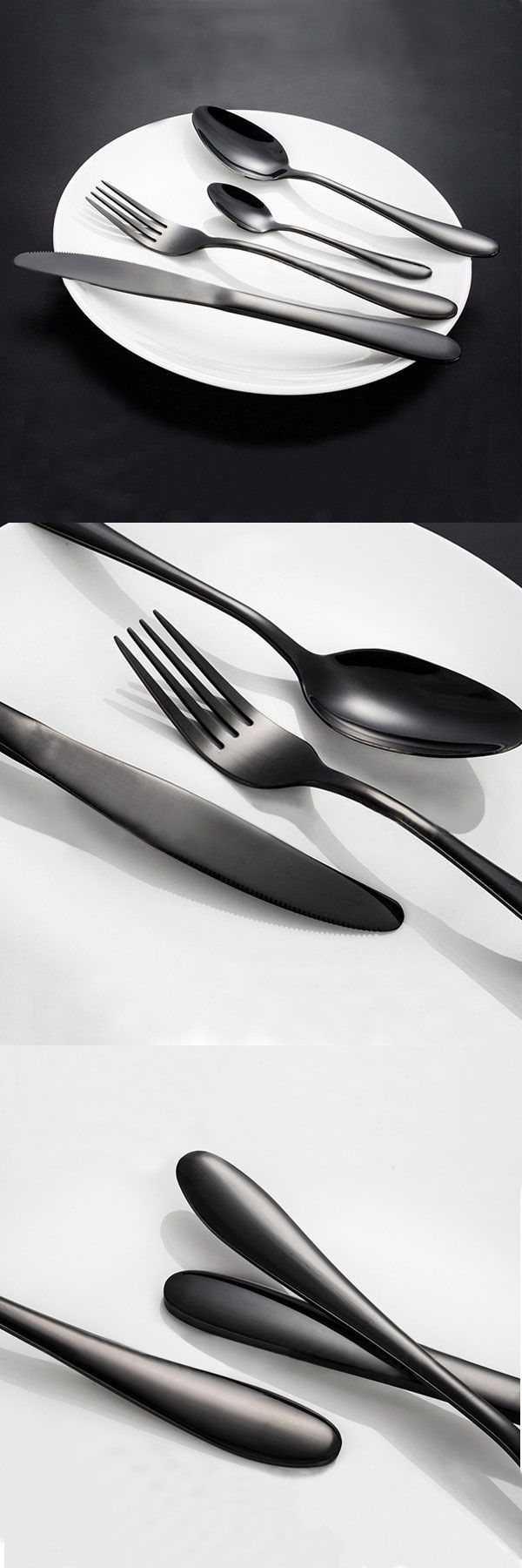 Food grade stainless steel, Black Gold Flatware,mirror surface polishing