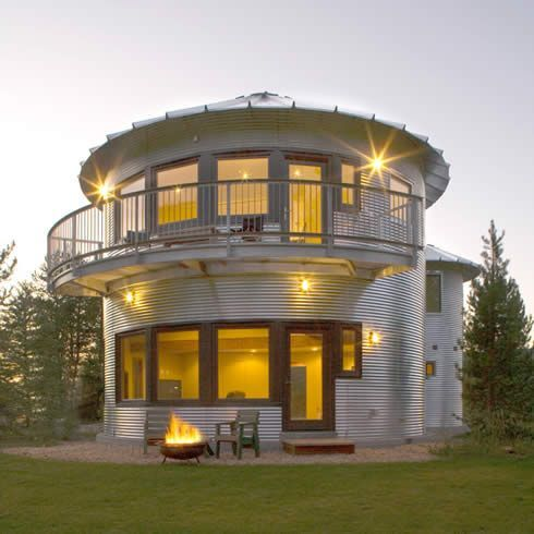 Made from two grain silos, it stays warm in the winter and cool in the summer.  Looks great too!