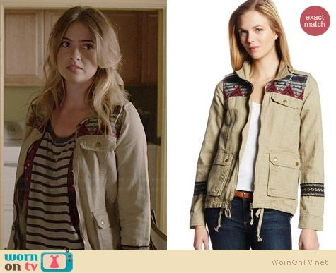 Malia's striped top and embroidered jacket on Teen Wolf.  Outfit Details: https://wornontv.net/36791/ #TeenWolf
