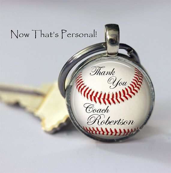 "CUSTOM BASEBALL KEYCHAIN ""Thank you Coach"" personalized with Your coach's name by NowThatsPersonal, $15.95"