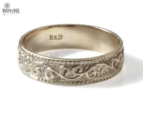 14k white gold Wedding Band Vintage ring Art Deco by DINARjewelry, $540.00