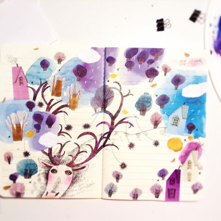 Оленчик. Маленький мандрівник  #teawithrosejam #скетчбук #скетч #зарисовка #акварель #скетчбук_вояж_смарьяной #sketch #sketchbook #draw #watercolour