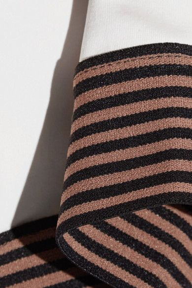 Olympia Activewear - Troy Cutout Striped Stretch-jersey Sports Bra - Cream - medium