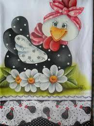 Resultado de imagem para pintura em tecido pano de prato galinha