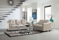 Breathable Leatherette  Cream Two Piece Living Room Set