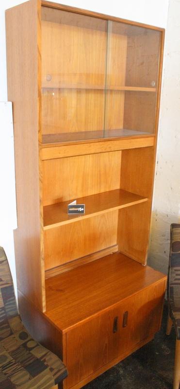 danish bookcase with sliding glass doors