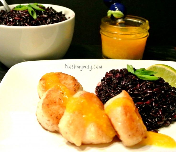 Mango Coulis Seared Scallops with Forbidden Rice Recipe