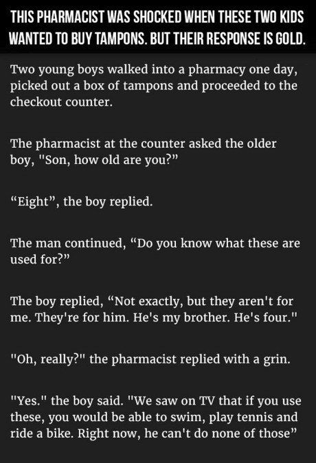 This Pharmacist Was Shocked When These Two Kids Wanted To Buy Tampons. But Their Response Is Gold.