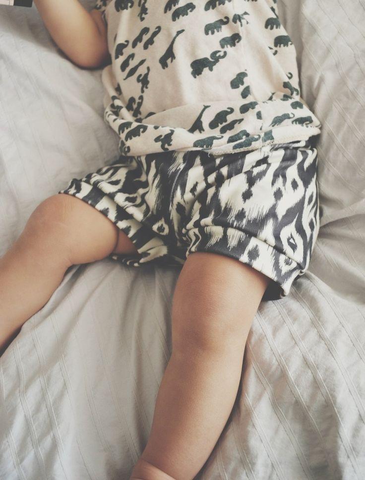 Image of organic cotton shorts in b&w tribal print , organic baby shorts, modern baby clothing
