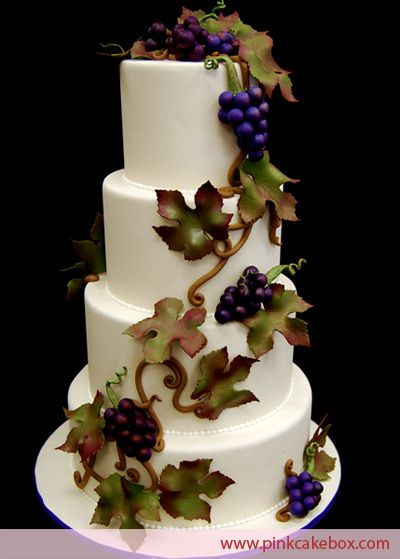 Gluten Free Wine Vineyard Wedding Cake by Pink Cake Box in Denville, NJ.  More photos and videos at http://blog.pinkcakebox.com/gluten-free-wedding-cake-2009-08-16.htm