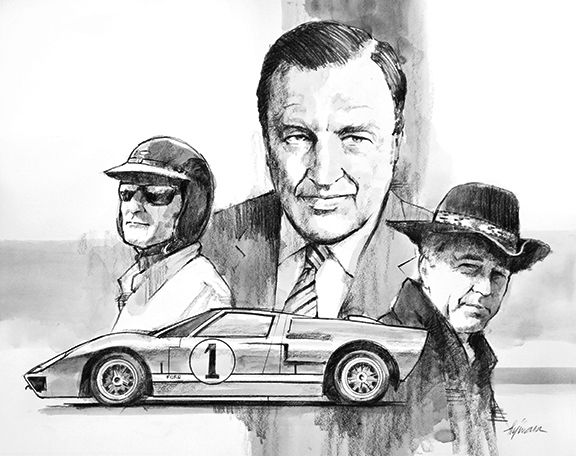 Henry Ford Ll Carrol Shelby Ken Miles Ford Gt40 1966 Le Mans