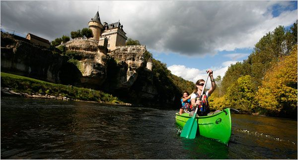 """DONE: rowed boats in Loire Valley by a castle""""_ In the Dordogne, Canoeing Into Prehistory - NYTimes.com"""