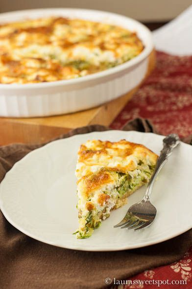 Zucchini and Goat Cheese Crustless Quiche | LaurasSweetSpot