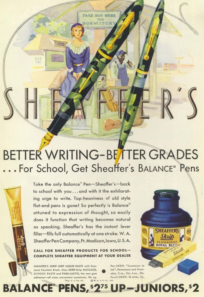 1933 Sheaffer fountain pen ink color Art Illustration Print Ad Ft Madison Iowa   #Sheaffer