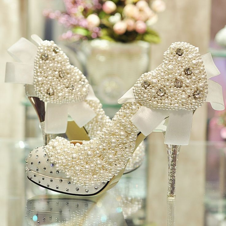 WOW!!  Not for every bride, but look at these!Pearly Wedding Shoes for Brides