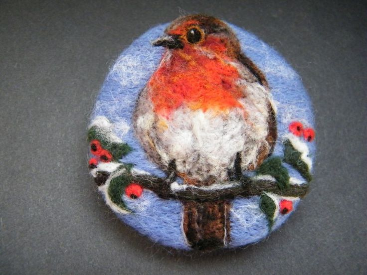 Handmade needle felted brooch/Gift 'Cheeky Robin Redbreast' by Tracey Dunn | eBay