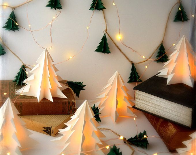 15% OFF SALE Discount Holiday Bundle on Mantle Decorations 3 Pack LED Tree and Rustic Evergreen Garland