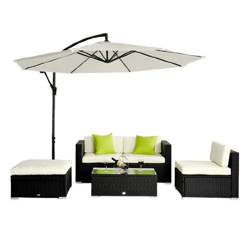 5pc rattan wicker conservatory furniture garden corner sofa outdoor patio furniture set aluminium black by manufactured
