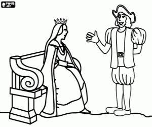 Colorear Cristóbal Colón y Reina Isabel