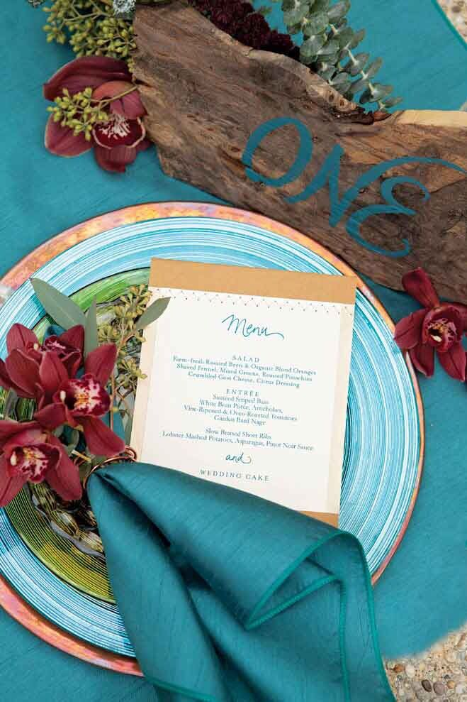 Copper & teal beach wedding with a pop of cranberry. So gorgeous.
