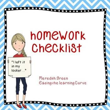 The  Best Homework Checklist Ideas On   School Ideas