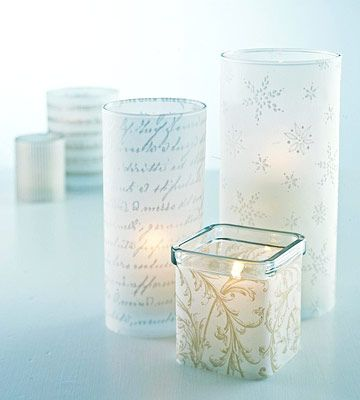 Put on a dazzling light show with these vellum-wrapped candleholders. Measure the circumference of the candleholder and add 1/4-inch. Measure the height of the holder. Cut a piece of vellum to fit. Apply double-stick tape to the right side of one vertical edge of the paper. Wrap the holder, overlapping and adhering the opposite edge to the taped edge.