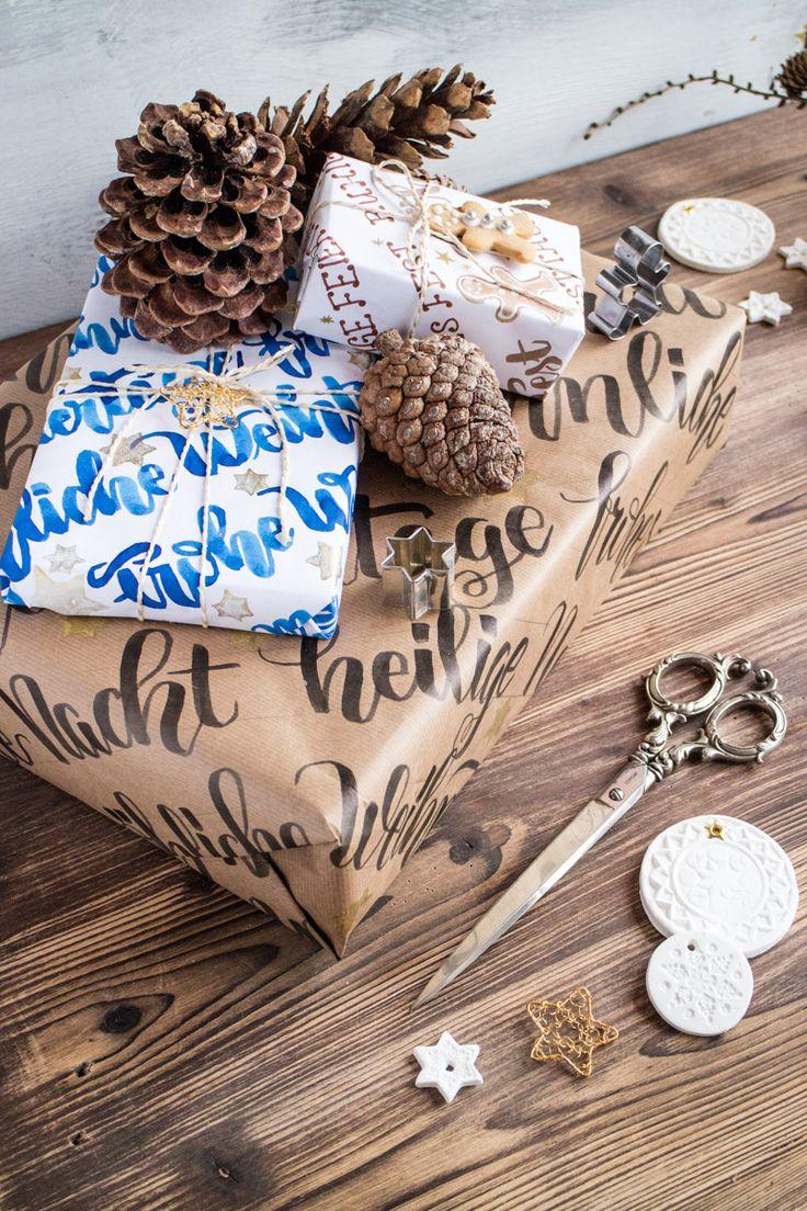 Alles was wir lieben - DIY: handgelettertes, selbst gemachtes Weihnachts-Geschenkpapier {Create yourself a merry little Christmas}
