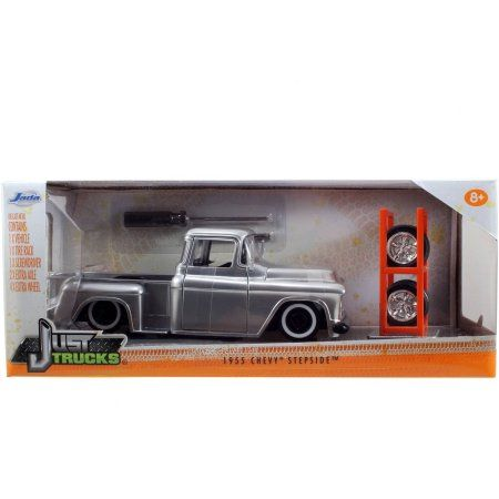 Just Trucks 1:24 Diecast W11 1955 Chevy Stepside Pick-Up, Candy Silver