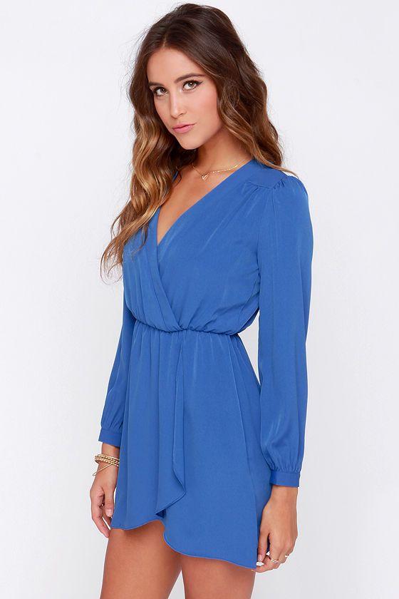 That's a Wrap Blue Long Sleeve Dress at Lulus.com! Grad Dress