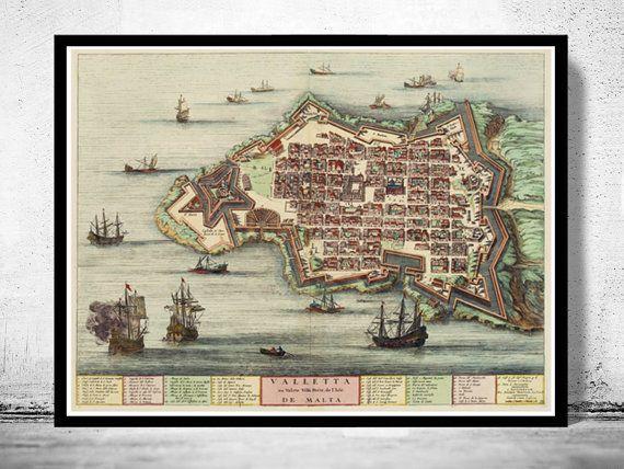 Old Map of Valleta Malta Island 1705 medieval by OldCityPrints