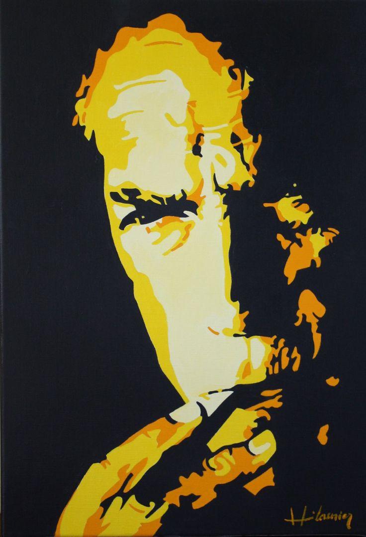 Clint Eastwood par Hervé Lasnier. Acrylique sur toile, 55x38 cm https://www.instagram.com/hervelasnier_artistepeintre/ #Western Clint Eastwood / Giant / Cinema / Acrylic painting / Hervé Lasnier / Couleur / Western