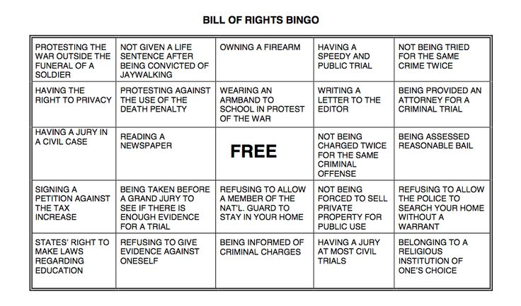 Bill of Rights Bingo! Full instructions included. TEKS: Govt. 13B