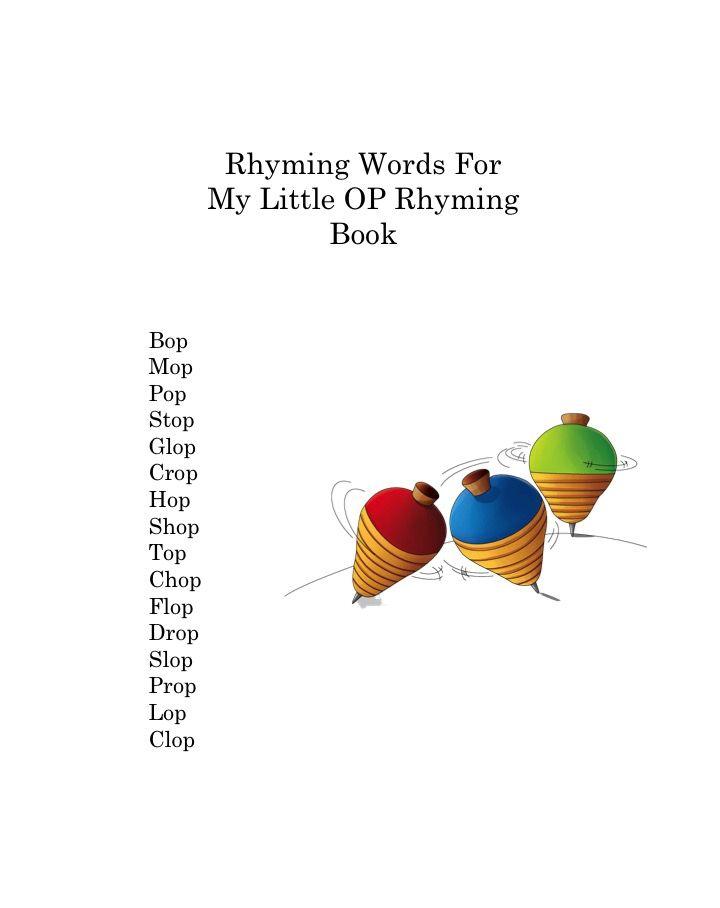 We used several fun OP words in My Little OP Rhyming Book. www.vickymford.com