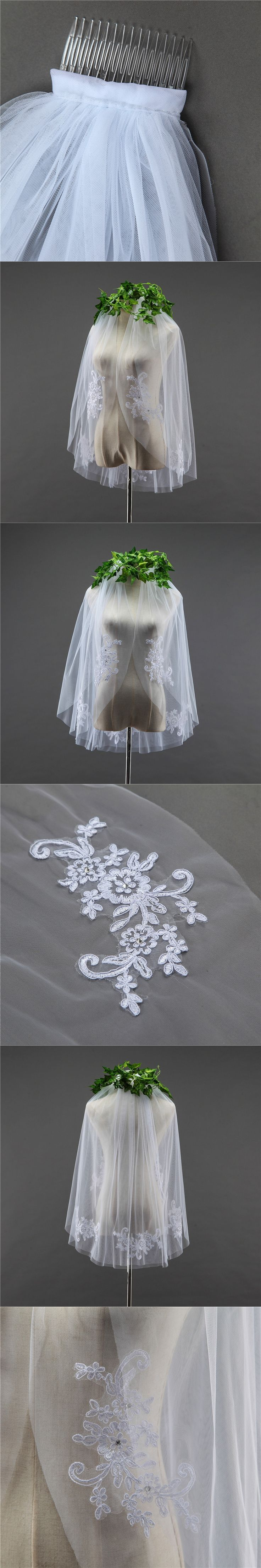 In Stock Short One Layer waist length Stick Crystal appliqued white ivory wedding veil bridal veils
