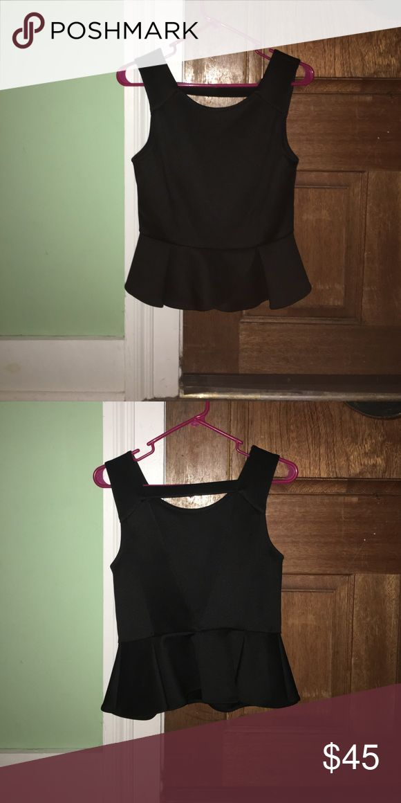 BCBG generation NWOT Black Peplum Top small BCBG generation size small black peplum top. It's never been worn but bought online so there aren't any attached tags. Cute open back style. BCBGeneration Tops