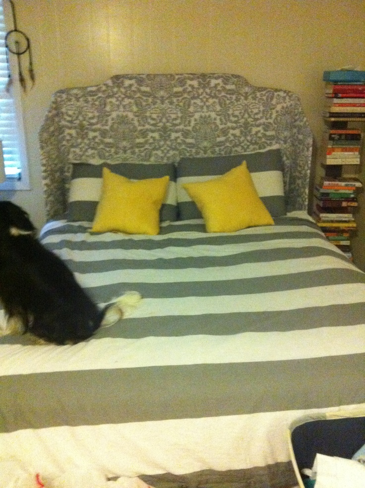 My beautiful handmade headboard with West Elm duvet and accent pillows from Target