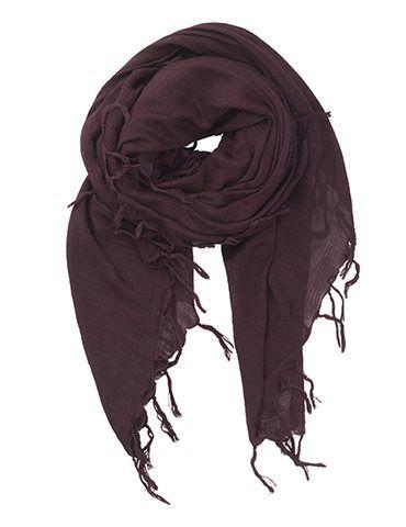 Tørklæde med frynser - Mørkerød