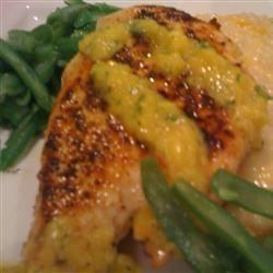 Coriander Chicken with Mango Salsa Allrecipes.com