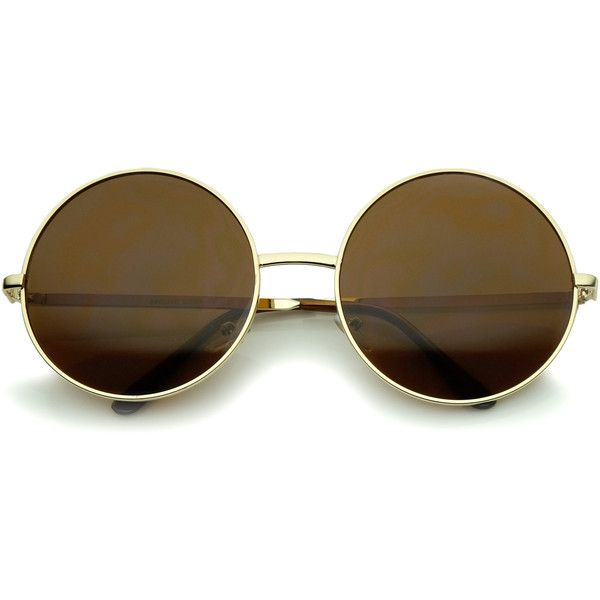 Oversize vintage inspired metal round circle sunglasses 8370 (400 UYU) ❤ liked on Polyvore featuring accessories, eyewear, sunglasses, glasses, vintage style sunglasses, circular glasses, circle sunglasses, round lens glasses and round lens sunglasses