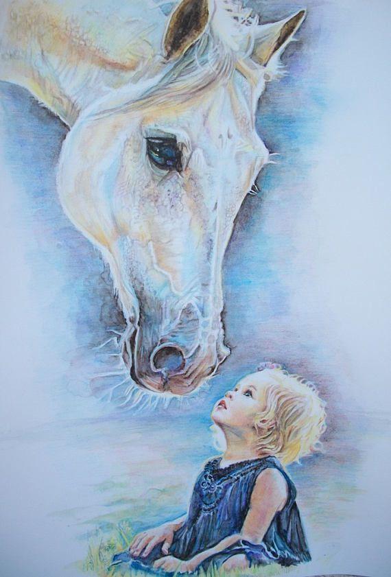Ritratto personalizzato  Bambina con cavallo dipinto