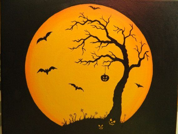 Halloween Canvas Paintings   Original Halloween canvas moon painting with by MaryClaresArtwork, $23 ...