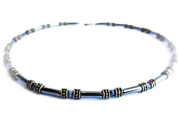 Mens beaded choker blue black stones necklace for men black