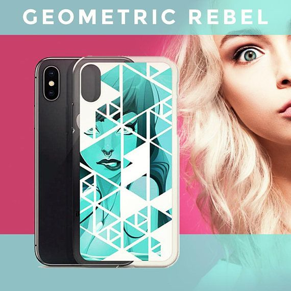 A cool geometric pattern iphone case featuring an underwater rebel mermaid with a noise ring. This makes a perfect gift for those who want to add a stunning edge to their phone case collection. This stunning colorful iphone case protects your phone from dirt, oils, and scratches. Its