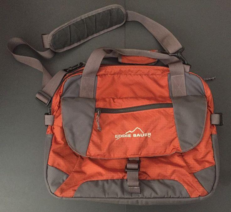 Eddie Bauer Bag Orange Laptop Case Multi Pockets Shoulder Strap Durable Tote #EddieBauer