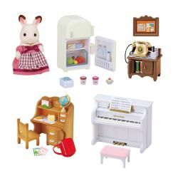 The detail in these is 1st class. This #Sylvanian #Families #Classic Furniture Set lets you turn your Sylvanian Families Cosy Cottage Starter Home from a house into a home. (Sylvanian Families Cosy Cottage Starter Home not included) Complete with an apron-clad Mother Chocolate, this set contains all the furniture you need to add some sparkle to a child's room.  Contents: A chocolate rabbit mother with a special apron, a child desk, a chair, a rucksack, a globe, a pen stand, 2 pencils, a desk…