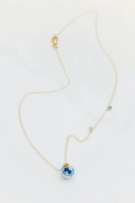 Handmade Gold Filled Necklace Miniature Cupcake Necklace Blue